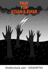 Pray for Assam and Bihar,flood effect area in India 2019-illustration