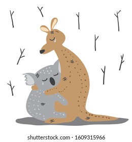 Pray for Australia. Volunteer fire service, koala and kangaroo are cry. painting watercolor.