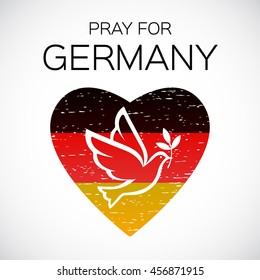 Pray for Germany. Pray for Munich, Munchen. Pray for Bavaria. Dove of peace on German national flag background.