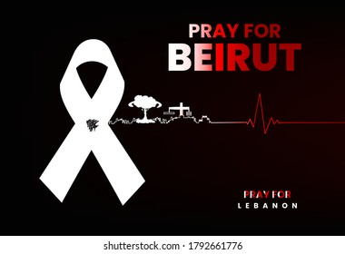 Pray for Lebanon and Beirut city with mourn ribbon. Pray for Beirut in dark background, heart beat lines, Massive explosion on Beirut, mourn, humanity and peace. pray for Lebanon concept.