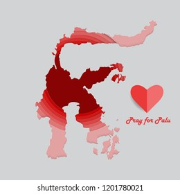 Pray for Palu, Sulawesi, Indonesia. A message of support to all victims of tsunami and earthquake in palu, donggala and sigi, central Sulawesi. Papercut vector illustration.