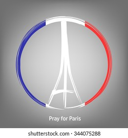 Pray for Paris, 13 November 2015. Abstract creative concept vector image. For art illustration template design, infographic and social media.
