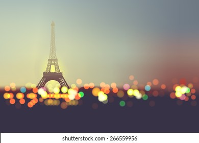 pray for paris , Abstract Background ,Silhouette of Eiffel tower in  lights and bokeh