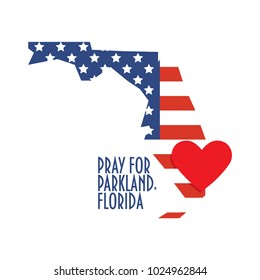 Pray for Parkland Florida Vector Illustration. Great as donate, relief or help victims icon. Heart, map and text: Pray for Parkland Florida. Support for charity work after mass shooting.