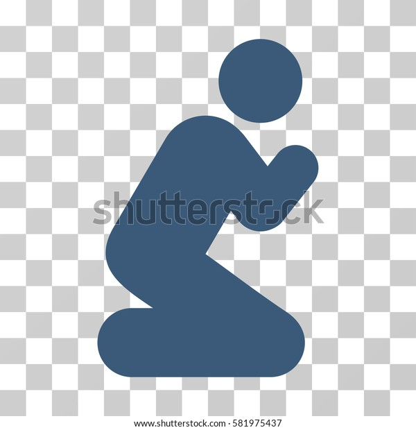 Pray Pose vector pictogram. Illustration style is a flat iconic blue symbol on a transparent background.
