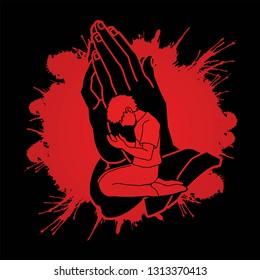 Pray or Prayer concept. Double exposure cartoon graphic vector praising the Lord.