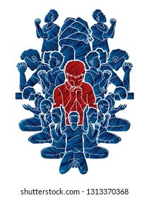 Pray or Prayer concept.Group of people praying to God . Double exposure cartoon graphic vector