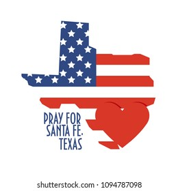Pray for Santa Fe, Texas Vector Illustration. Great as donate, relief or help victims icon. Heart, map and text: Pray for Santa Fe, Texas. Support for volunteer charity work after school mass shooting