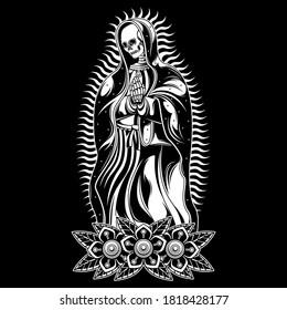 pray skull tattoo, vector EPS 10