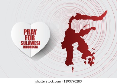 Pray for sulawesi,indonesia Message; in White Paper art Heart Icon modern style with Map symbol background; design for Support and help to people; charity; donate after Earthquake; vector