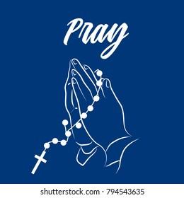 Pray Word, Praying Hands, Vector Illustration