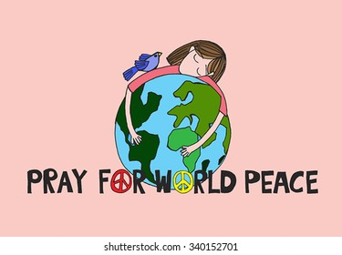 Pray for world peace.Vector Illustration