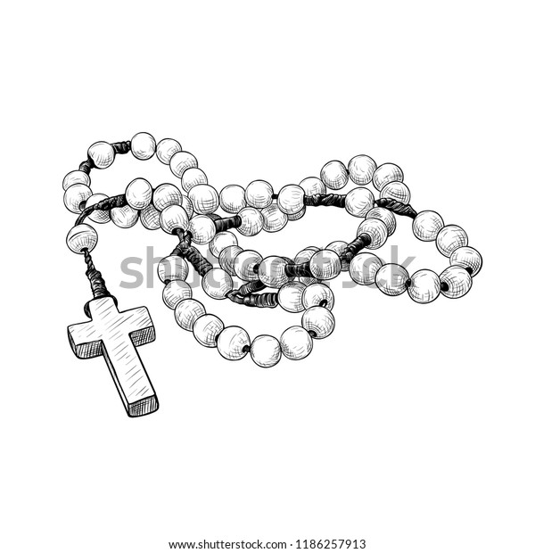 Prayer Beads Handdrawn Vintage Drawing Rosary Stock Vector Royalty