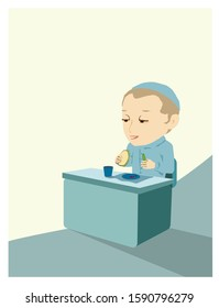 Prayer before food. A vector illustration of an Orthodox Jewish boy blessing before eating. In front of him a plate of tomatoes, in his hands a cucumber and a sandwich with lettuce.