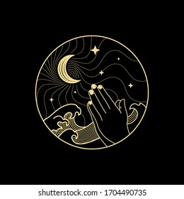 Prayer hand with crescent moon and star in the middle of the night with big waves or storm. Lineart, decorative  or boho style. vector, illustration. For spiritual guidance tarot reader, tattoo.
