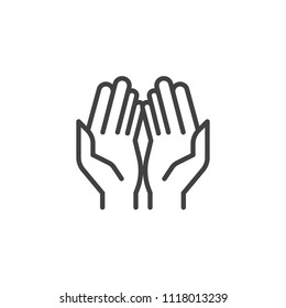 Prayer hands outline icon. linear style sign for mobile concept and web design. Praying hand simple line vector icon. Symbol, logo illustration. Pixel perfect vector graphics