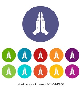 Prayer icons set in circle isolated flat vector illustration
