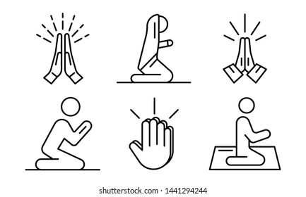 Prayer icons set. Outline set of prayer vector icons for web design isolated on white background