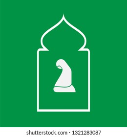 Prayer Room Icon. Moslem Praying Area Vector Illustration. Shalat Place Sign & Symbol. Islamic Activities Logo Template. EPS 10.