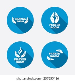 Prayer room icons. Religion priest faith symbols. Pray with hands. Circle concept web buttons. Vector