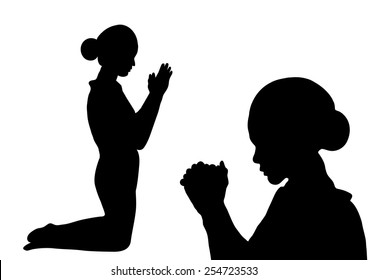 Prayer silhouette -Woman paying isolated on white background