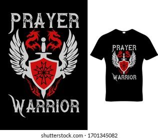 Prayer Warrior typography t-shirt design template vector.