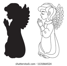 Praying Angel. Silhouette and contour drawing. Vector clip art.