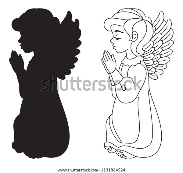 Praying Angel Silhouette Contour Drawing Vector Stock Vector Royalty Free 1131864524