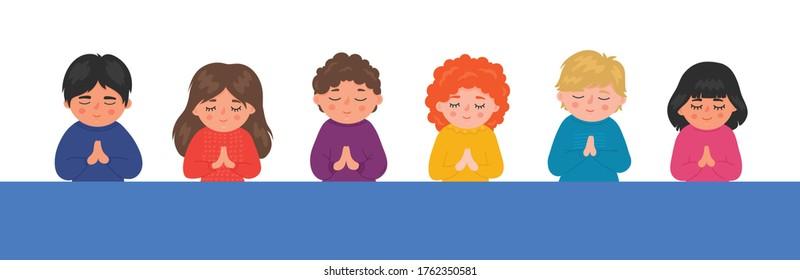 Praying children border. Religious schools. Children's christian catechesis. Bible school