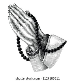 Praying hand drawing vintage clip art isolated on white background