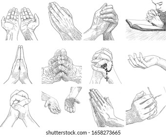 Praying hands drawing art styles.