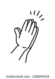 Praying hands drawn in simple line icon illustration in black and white style