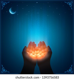 Praying hands of the faithful Muslim receives God's grace. Vector image. First person view. Blue and golden shine of Divine light. Islamic style. Fine template with a copy space for religious quotes