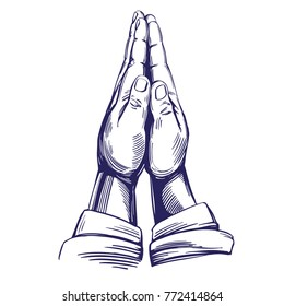 praying hands to God, symbol of Christianity hand drawn vector illustration sketch.