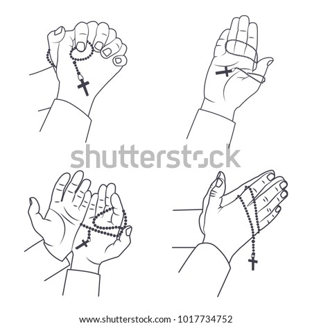 Praying Hands Holy Rosary Beads Vector Stock Vector Royalty Free