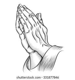 Praying hands. Religion and holy catholic or christian, spirituality belief and hope. Vector illustration