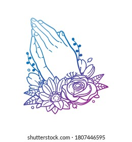 Praying Hands Religion Rose Flower with Vintage Pose Design. Floral frame ornament vector style. Decoration Design Empty illustration.