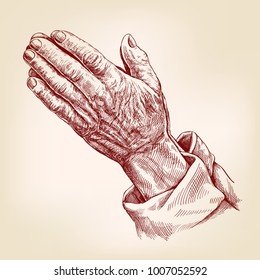 Praying Hands , symbol of Christianity hand drawn vector illustration realistic sketch