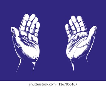Praying Hands , symbol of Christianity hand drawn vector illustration sketch