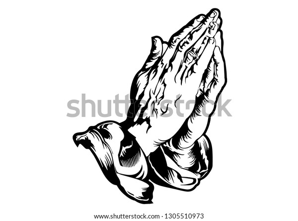 Praying Hands Tattoo Vector Stock Vector Royalty Free 1305510973