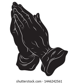 Praying hands. Vector illustration of hands praying to god. Black and white drawing of a man in prayer. Tattoo.