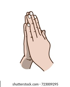 Praying Hands Vector Illustration, a hand drawn vector cartoon illustration of praying hands.