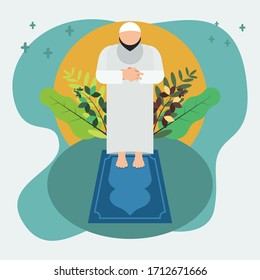 Praying man of moslem vector illustration