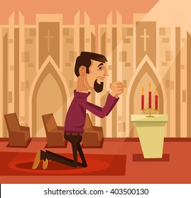 Praying man. Vector flat cartoon illustration