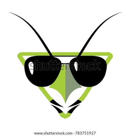 Praying Mantis Funny Face Art Design Stock Vector Royalty Free