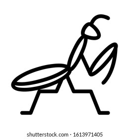 praying mantis icon with black line style