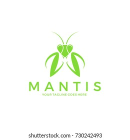 Praying mantis. Logo. Abstract insect. Isolated mantis on white background