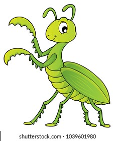 Praying mantis theme image 1 - eps10 vector illustration.