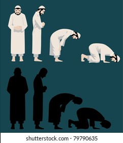 Praying Movements of A Muslim Man-vector