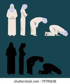 Praying Movements of A Muslim Woman-vector
